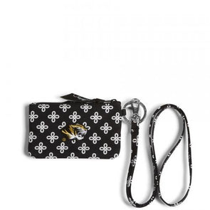 Mizzou Vera Bradley Black & White Pouch with Lanyard