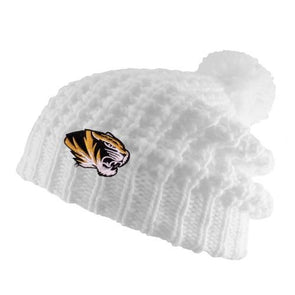 Mizzou Tiger Head White Knit Slouch Beanie with Pom