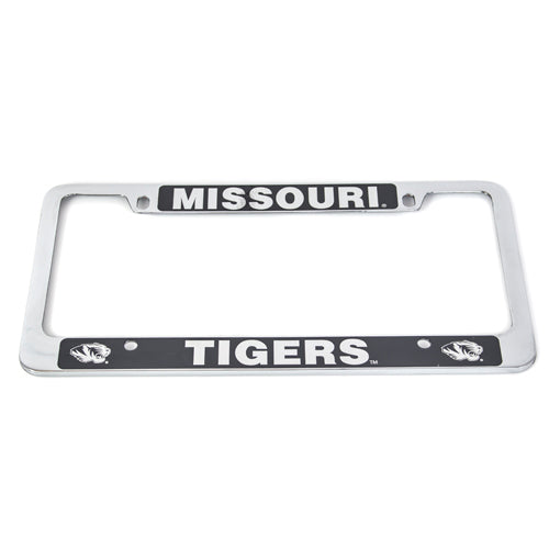 Missouri Tigers Laser Engraved Black and Silver License Frame