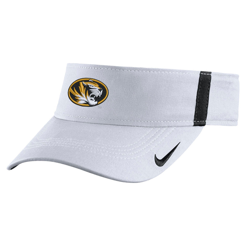 9342706ff87 Mizzou Nike® 2017 Sideline Oval Tiger Head White Dri- Fit Adjustable Visor