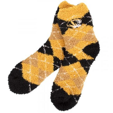 Mizzou Oval Tiger Head Fuzzy Black & Gold Argyle