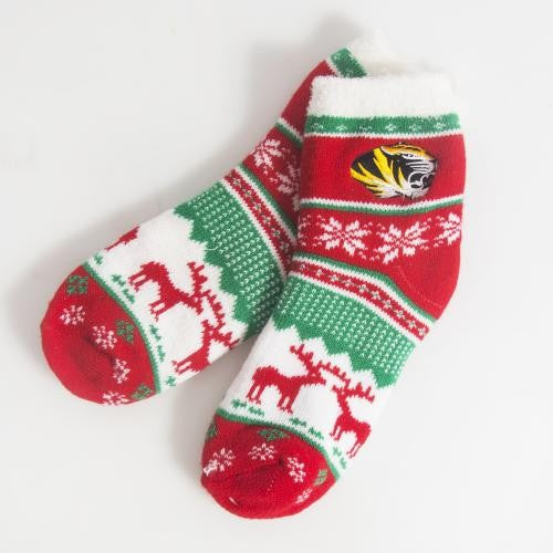 Mizzou Juniors' Red & Green Fuzzy Holiday Socks