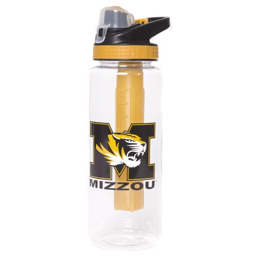 Mizzou M Tiger Head Water Bottle with Freezer Stick