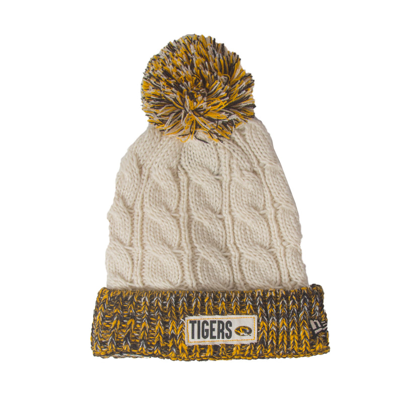 5713bb945f9 Mizzou Tigers Women s Rugged Cable Knit Off White Beanie