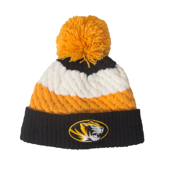 Mizzou Women's Oval Tiger Head Sherpa Lined Knit Beanie