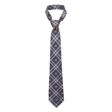 Mizzou Repeating Oval Tiger Heads Grey Plaid Tie
