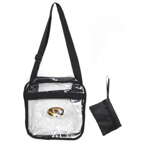 Mizzou Oval Tiger Head Clear Crossbody SEC Compliant Carryall Tote with Zipper