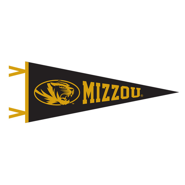 Mizzou Oval Tiger Head Black & Gold Mini Pennant