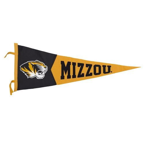 Mizzou Tiger Head Black & Gold Pennant