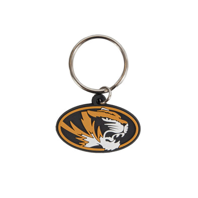 Mizzou Oval Tiger Head Flexi Keychain