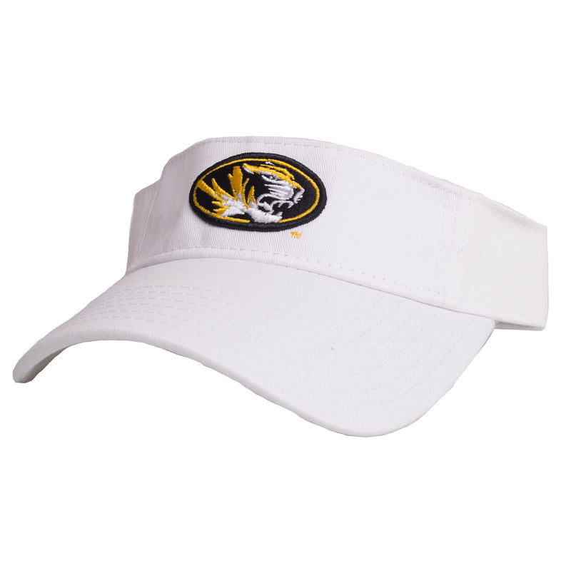 Mizzou Oval Tiger Head White Adjustable Visor
