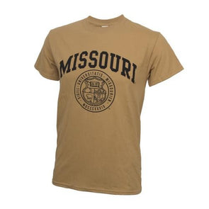 Missouri Official Seal Old Gold Crew Neck T-Shirt