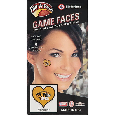 Mizzou Heart Tiger Head Face Tattoo 4 pieces