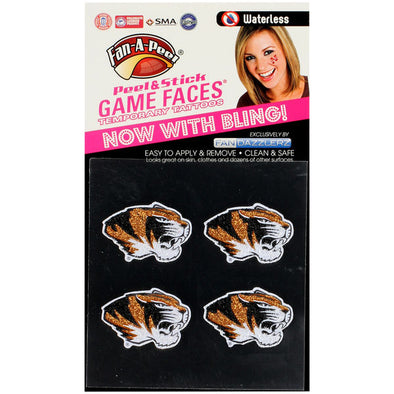 Mizzou Fandazzler Glitter Tiger Head Fact Tattoo's