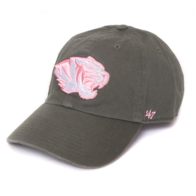 534fde93e70a7 Mizzou Juniors  Pink Tiger Head Moss Green Adjustable Cap