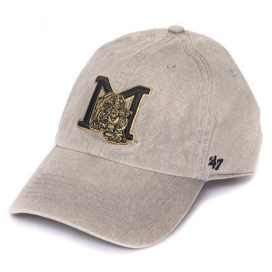 Mizzou Vault Skinny M Tiger Logo Cement Adjustable Grey Cap