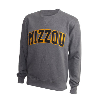 Mizzou Satin 2 Color Grey Crew Sweatshirt