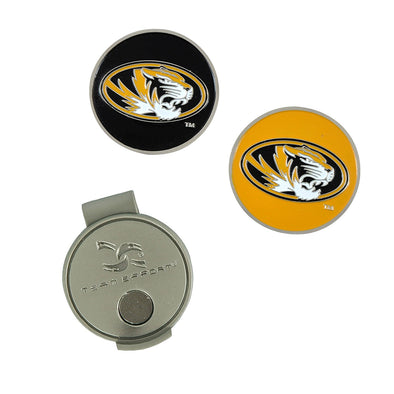 Mizzou Oval Tiger Head Hat Clip and Golf Ball Markers