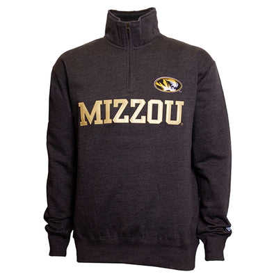 Mizzou Oval Tiger Head Charcoal 1/4 Zip Sweatshirt