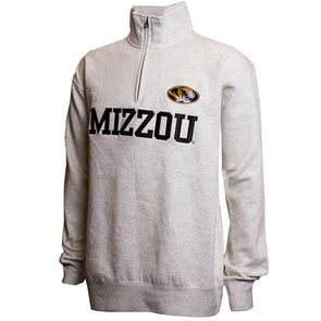 Mizzou Oval Tiger Head Cream 1/4 Zip Sweatshirt