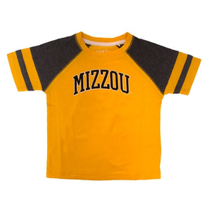 Mizzou Toddler Gold & Grey Raglan T-Shirt