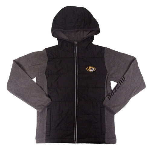 Mizzou Kids' Oval Tiger Head Black Full Zip Hooded Jacket