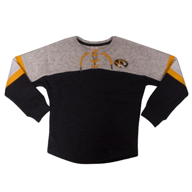 Mizzou Kids' Oval Tiger Head Lace-Up Black Crew Neck Sweatshirt