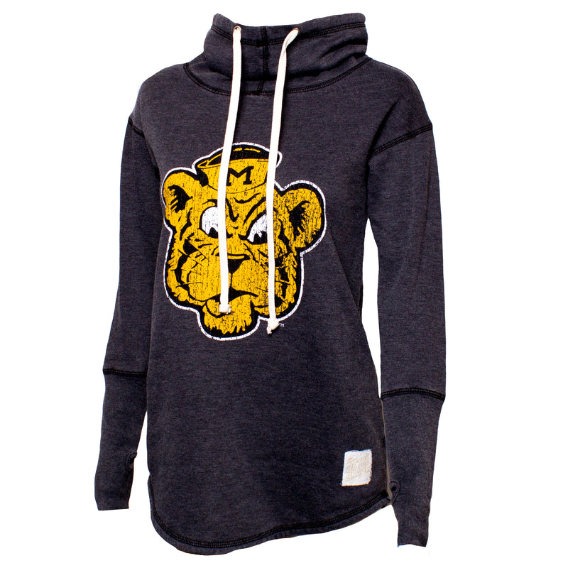 Mizzou Juniors' Beanie Tiger Funnel Neck Black Sweatshirt