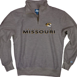 Missouri Tiger Head Grey 1/4 Zip Sweatshirt