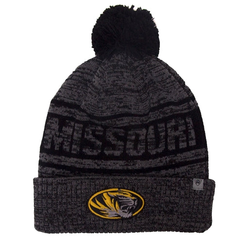 Missouri Oval Tiger Head Charcoal Cuffed Beanie with Pom