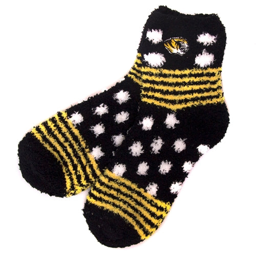 Mizzou Tiger Head Black & Gold Polka Dot Fuzzy Socks