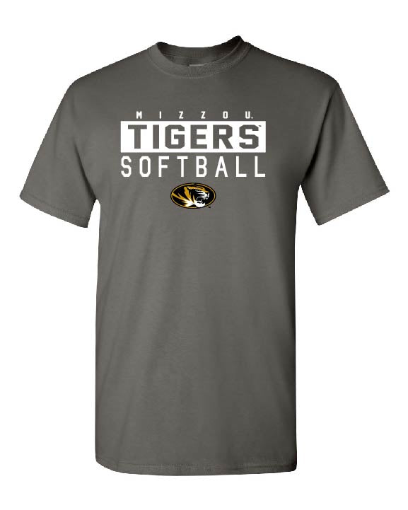 Mizzou 2018 Softball Tigers Oval Tiger Head Grey T-Shirt