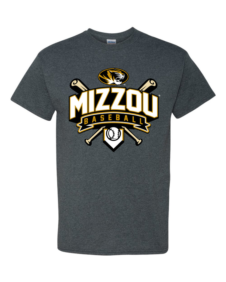 Mizzou Baseball Crossed Bats Oval Tiger Head Grey T-Shirt