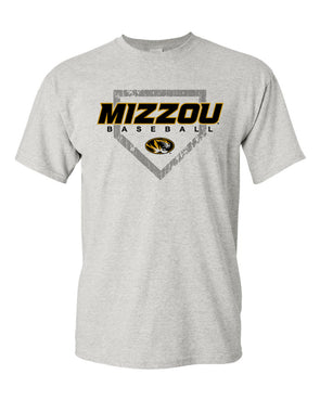 Mizzou 2018 Baseball Tonal Diamond Oval Tiger Head Grey T-Shirt