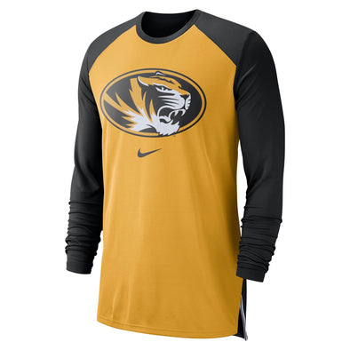 Mizzou Nike® 2018 Basketball Shooter Raglan Oval Tiger Head Black & Gold Long Sleeve T-Shirt