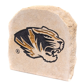 Mizzou Tiger Head Black & Gold Garden Stone