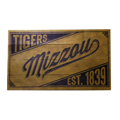 "Mizzou Tigers Est. 1839 14"" x 24"" Wooden Wall Sign"