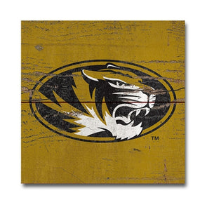 Mizzou Oval Tiger Head Wood Plank Magnet