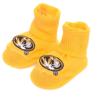 Mizzou Oval Tiger Head Gold Baby Booties