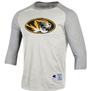 Mizzou Oval Tiger Head Off White 3/4 Sleeve Shirt