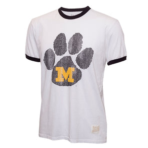 Mizzou Paw Print White Retro Crew Neck T-Shirt