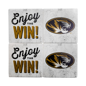 "Mizzou Sandstone ""Enjoy the Win"" Coaster Set of 4"