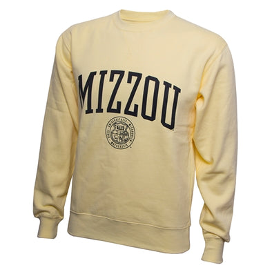 Mizzou Official Seal Yellow Crew Sweatshirt