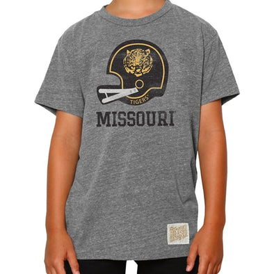 Missouri Tigers Classic Collection Kids' Vintage Football Helmet Nickel Grey T-Shirt