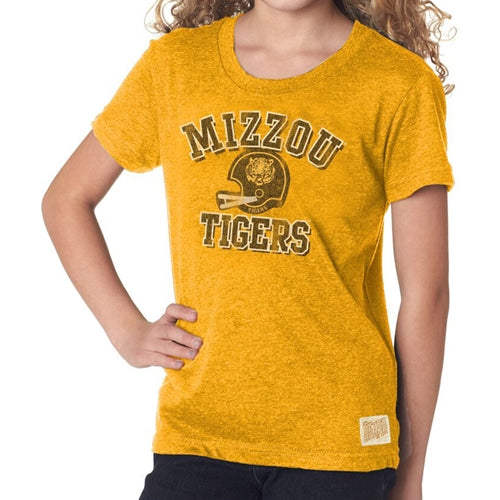Mizzou Tigers Classic Collection Kids' Vintage Football Helmet Gold T-Shirt