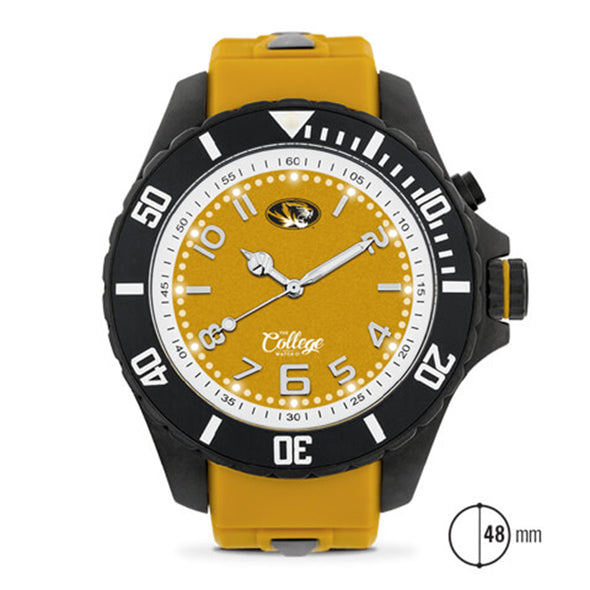 Mizzou Oval Tiger Head Silicone Band 48MM Men's Watch