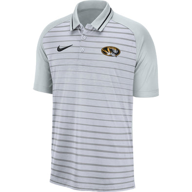 Mizzou Nike® 2019 Heather Stripe Oval Tiger Head Grey Polo