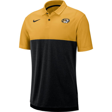 Mizzou Nike® 2019 Breathe Oval Tiger Head Team Issue Gold and Black Polo