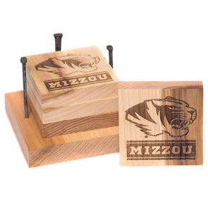 Mizzou Etched Wooden Coaster & Bottle Opener Set of 4