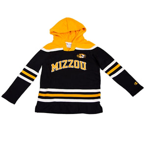 Mizzou Kids' Oval Tiger Head Black and Gold Hockey Jersey Hoodie Sweatshirt